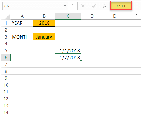 Formula for second date of Month