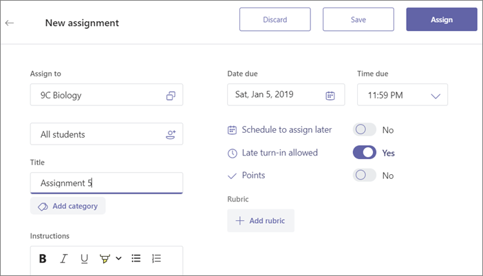 Fill in all the details of the assignment and then click the Assign button.