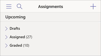 Sort assignments in mobile