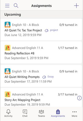 Assignments list in mobile