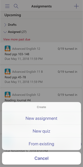 Create assignment options