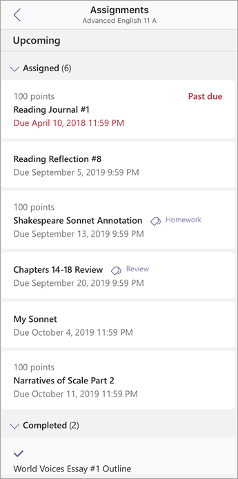 Student view of assignments