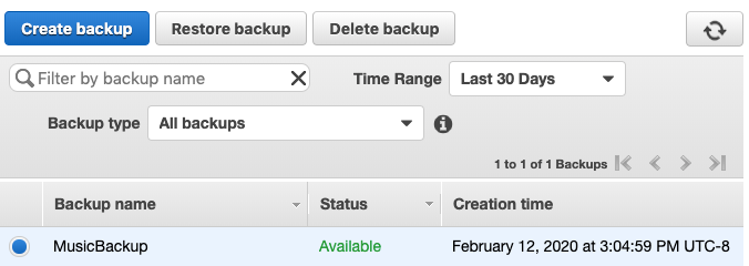 Screenshot of the MusicBackup with status showing                             available.