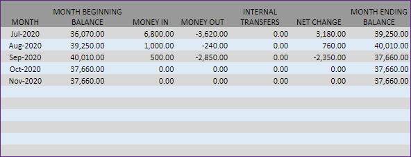 Cash Flow Report – Monthly Cash Flow Information – Table Format