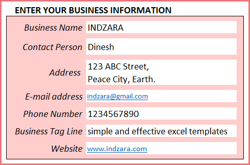 Enter Business Details in Rental Business Manager template
