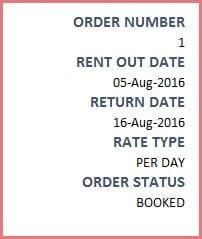 Invoice for Rental Business - Order level information
