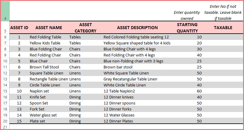 Enter list of Rental Assets or Products