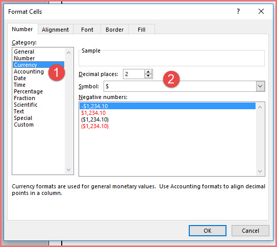 Changing Currency Format in Dialog Box