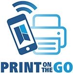 Print on the go logo, phone and printer clipart.