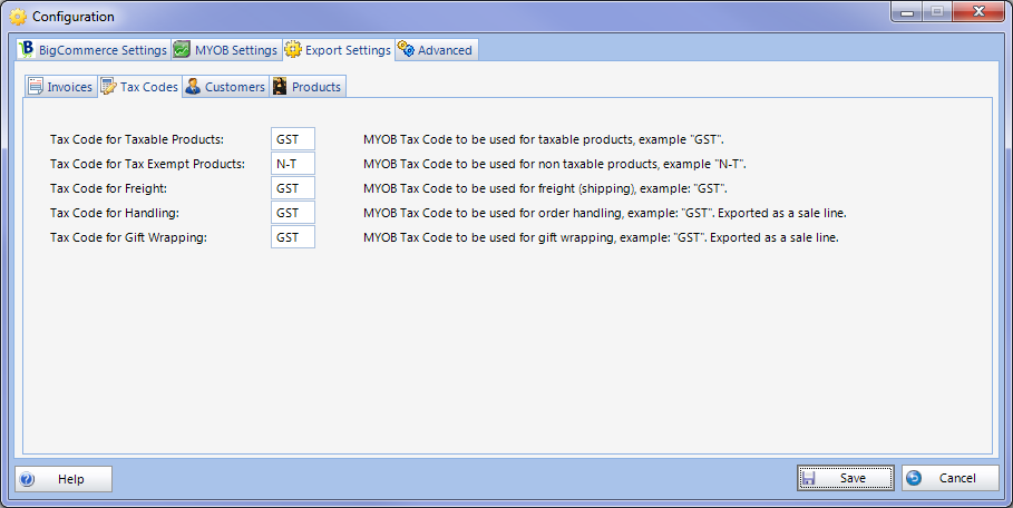 Configuration Export Tax Codes Setup.png