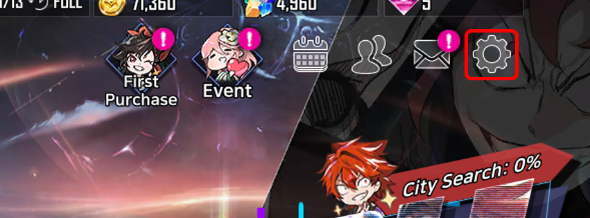 1. Tap to the cogwheel icon on the top right of the in-game main screen.