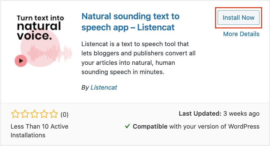 install now Listencat text to speech wordpress