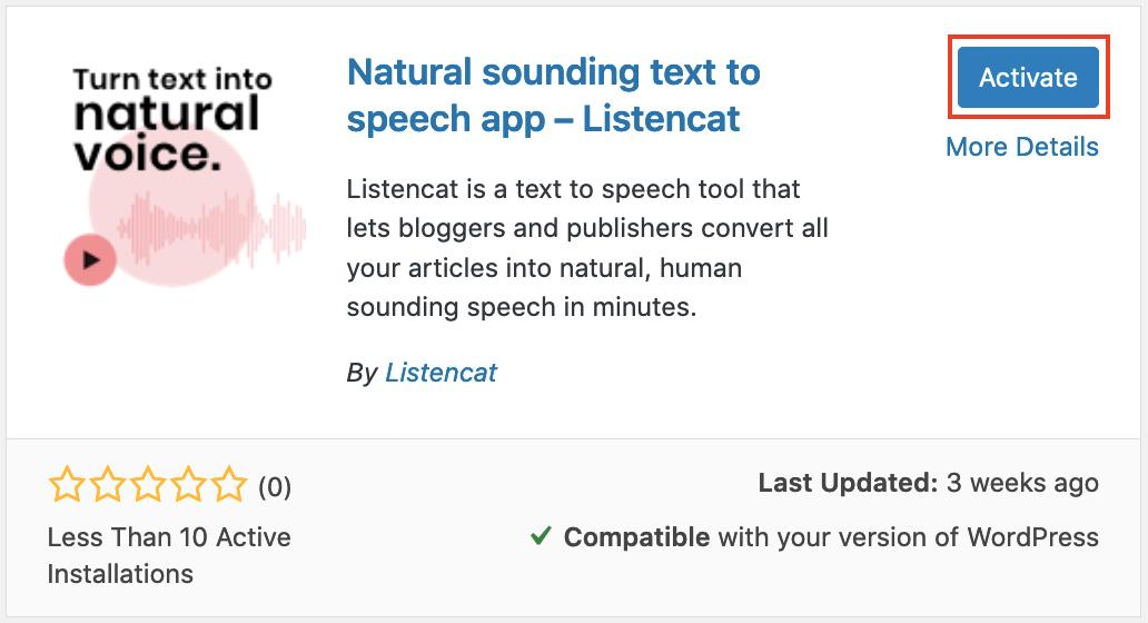 activate Listencat text to speech plugin wordpress