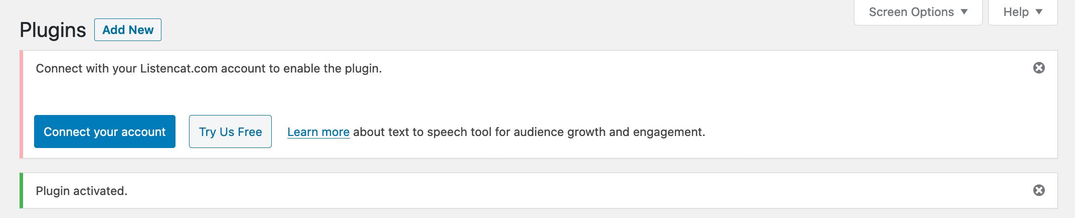 Listencat text to speech wordpress plugin installed