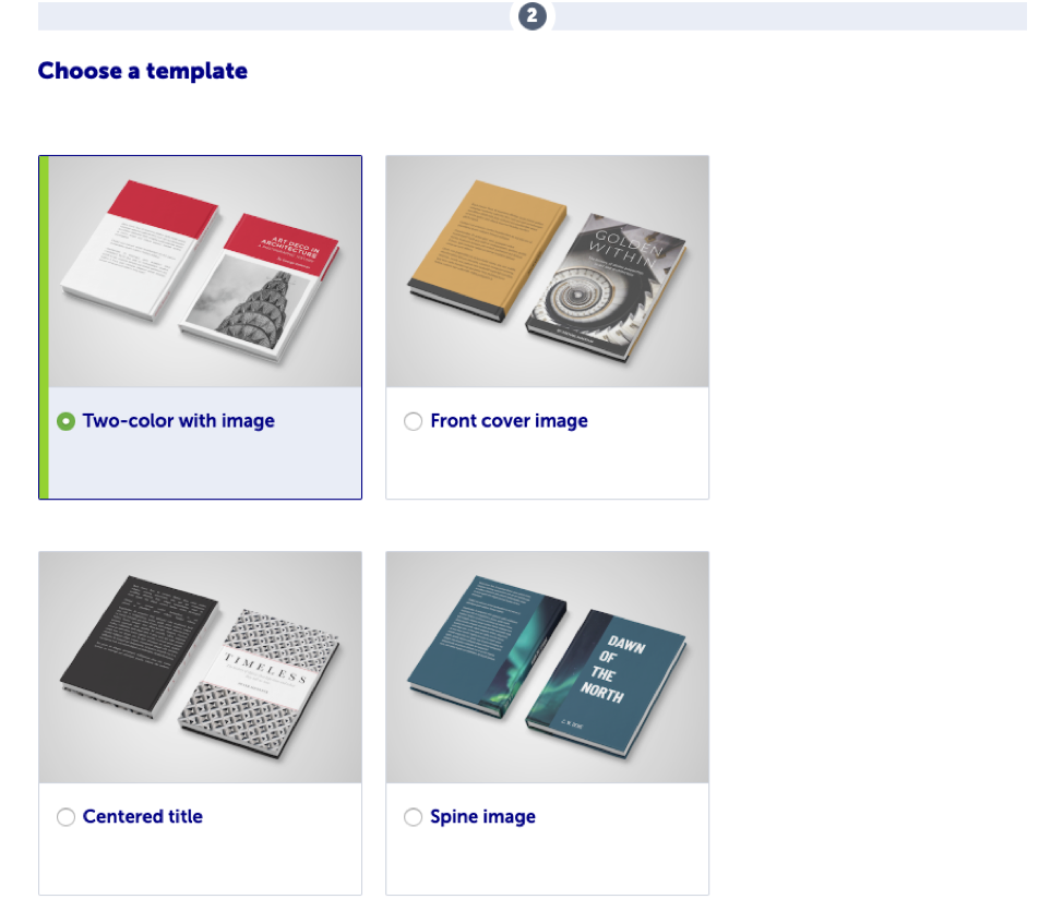 Choose from four templates for your book cover