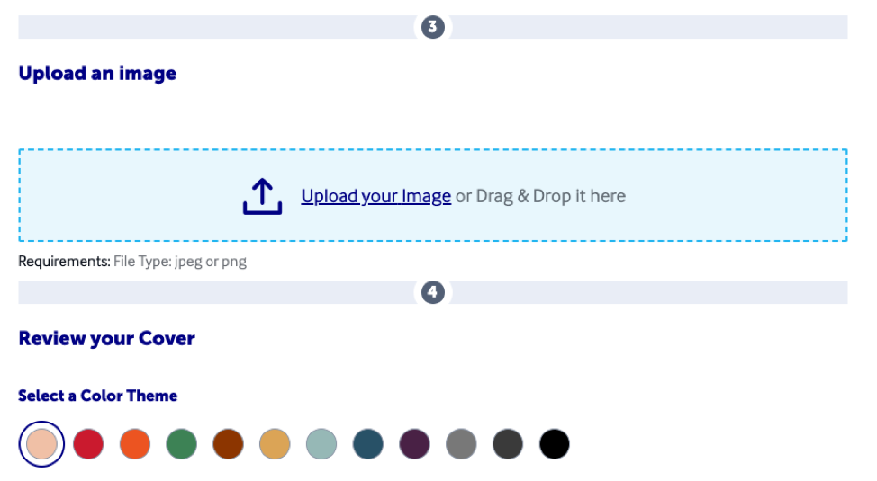 Upload your cover image and choose a color theme