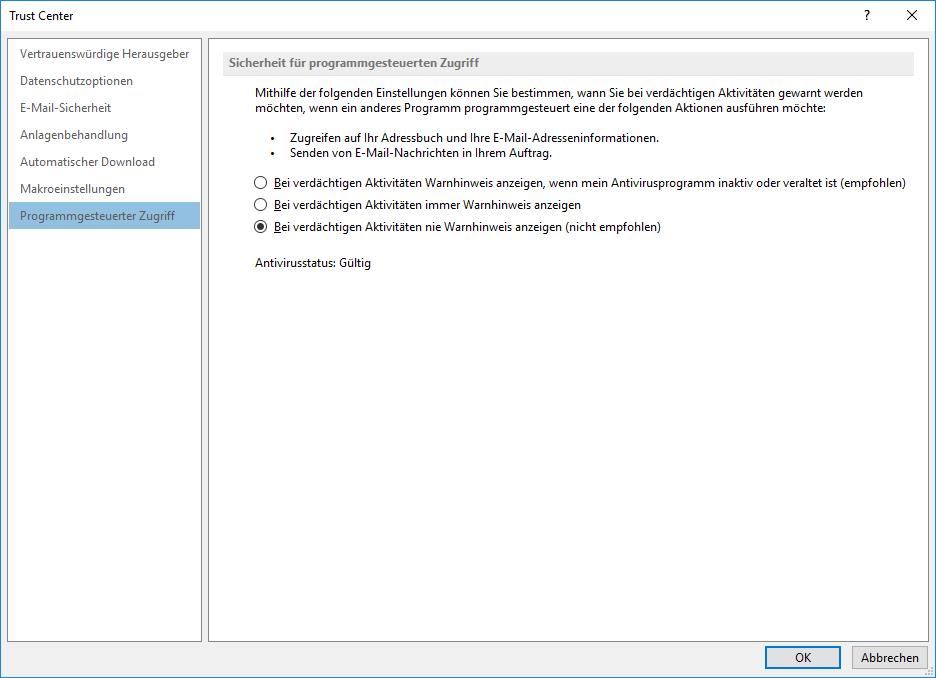 Outlook Sicherheitseinstellungen