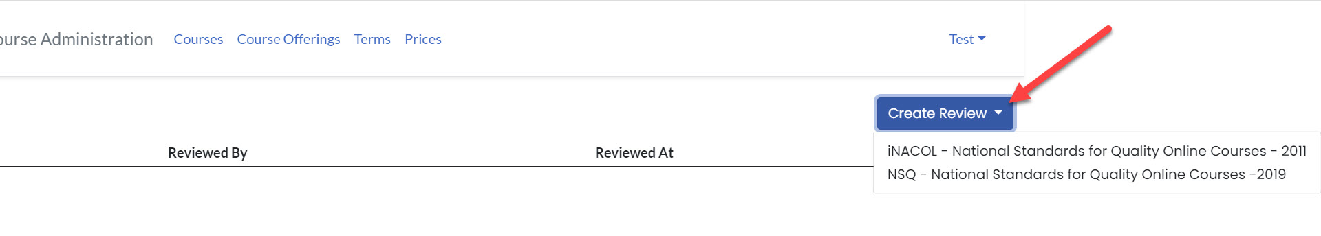 An arrow points to the Create Review drop-down button which is expanded to show options as mentioned above.