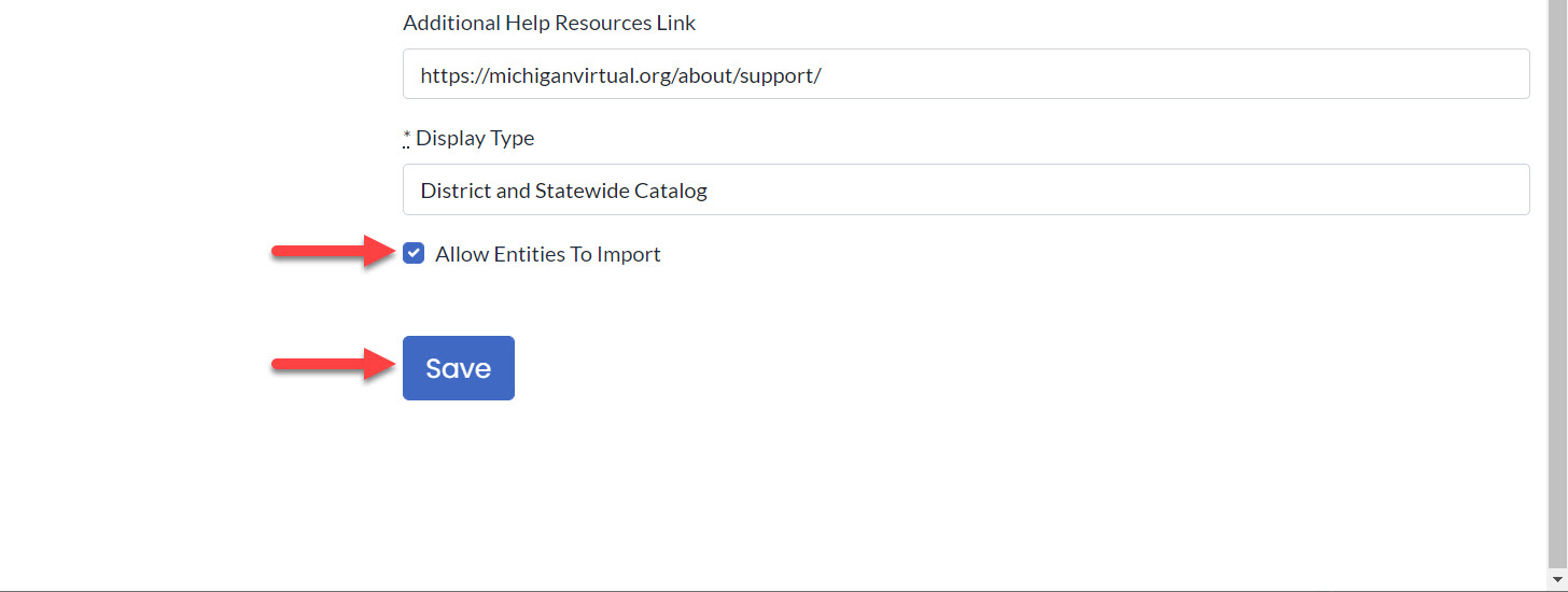 The bottom of the Edit Course page is shown with an arrow pointing to the Allow Entities to Import checkbox and to the Save button.