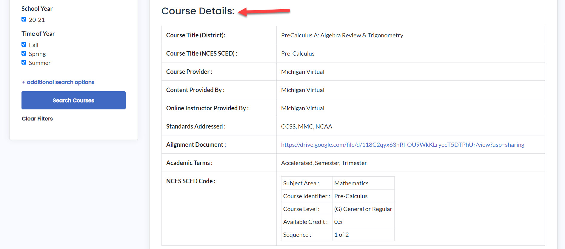 Image showing course details for the Pre calculus A course. An arrow points to the section header..