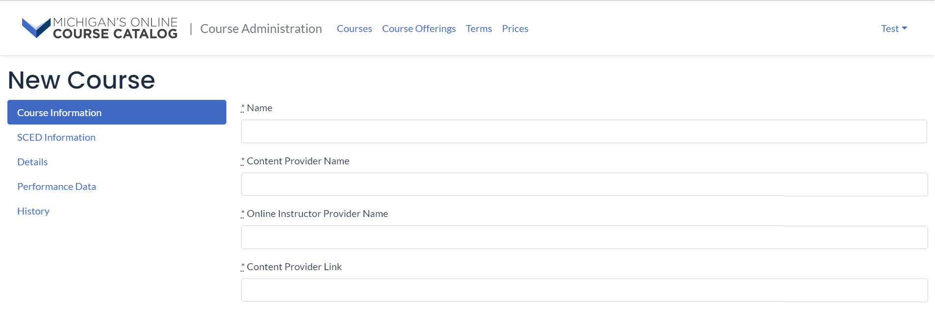 Image of the New Course Page that defaults to the Course Information menu option.