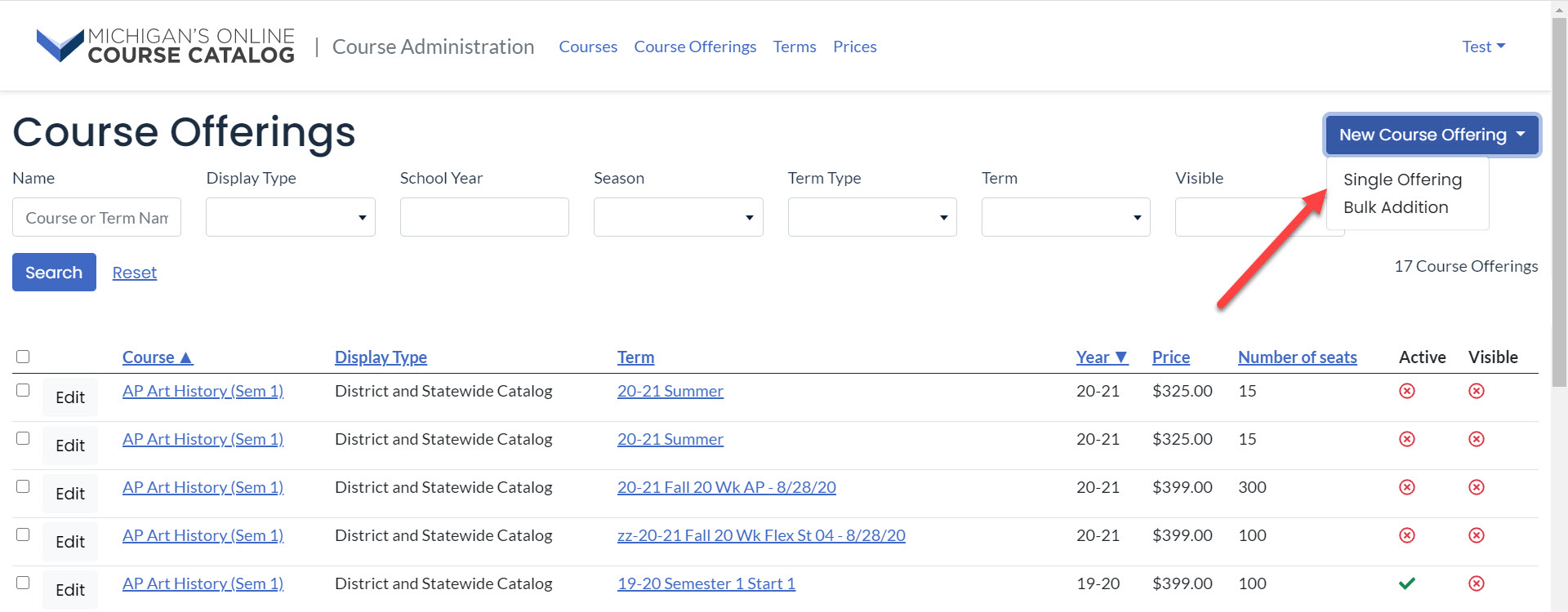 Image shows the Course Offerings page. An arrow points to the New Course Offering drop-down button with the two options displayed.