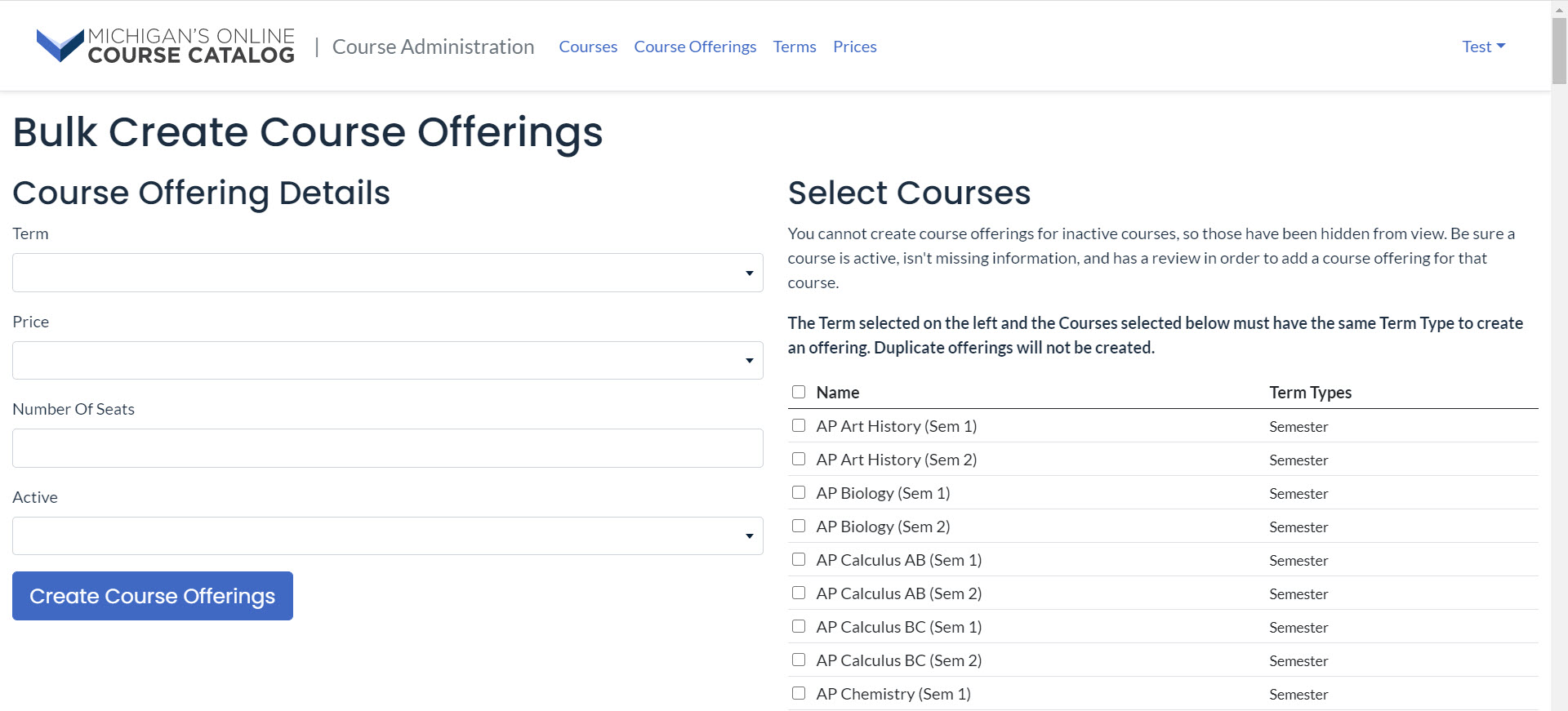The Bulk Create Course Offerings page is shown with Course Offering Details. At the bottom left the Create Course offerings button is shown.