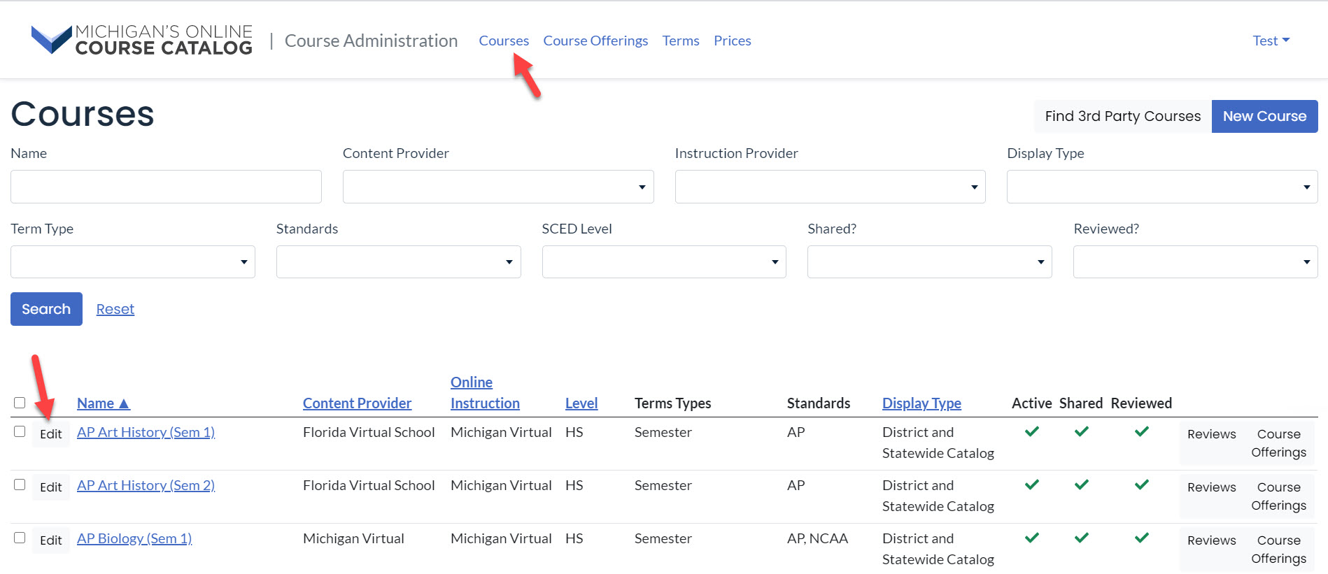 The Courses page is shown with search fields and results table. Arrows point to the courses menu option and to the edit button next to the course title.