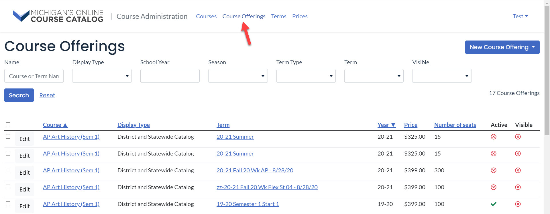 The Course Offerings page displays search filters as well as a results table. An arrow points to the Course Offerings option in the top menu.