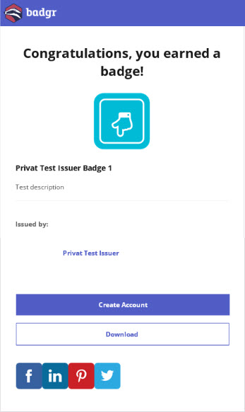 Email content when earning a badge with no Badgr account connected.