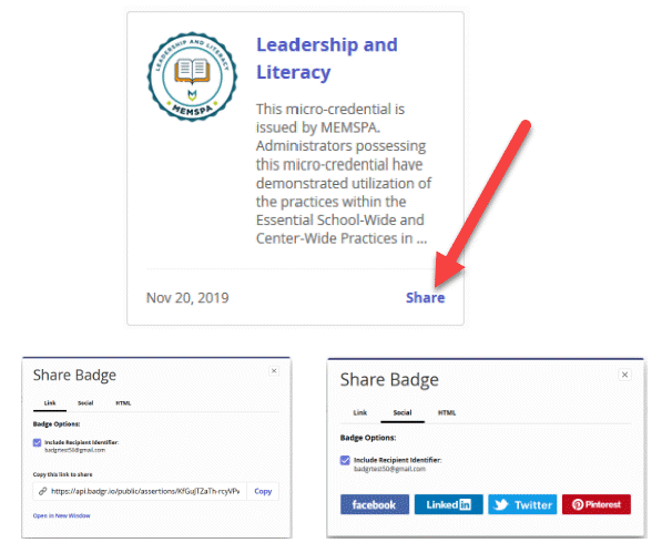 Badge is shown with an arrow pointing to the Share option. Below the badge shows two screens, one screen is the link options and the other is to the social options.