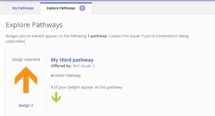 Explore pathways page is showing badge awarded.