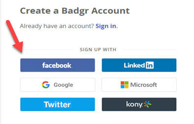 Badgr account creation page showing the social media options available.