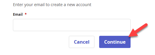 Prompt to insert email is shown with an arrow pointing to the Continue button.