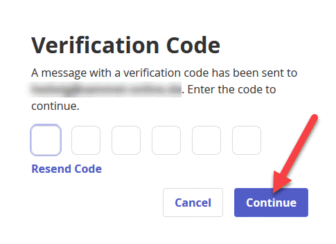 Verification code prompt displays boxes to insert 6 digit verification code. An arrow points to the continue button to press when finished.