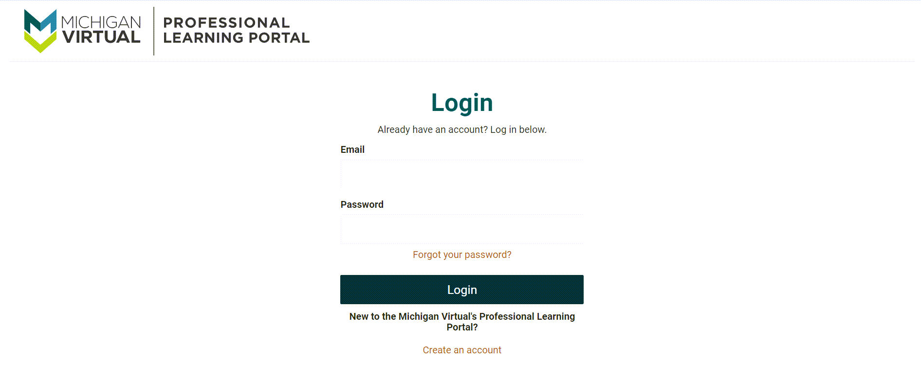 The PLP login page is shown with Email and Password fields. Along with forgot your password and create an account links. Below also is the login button.