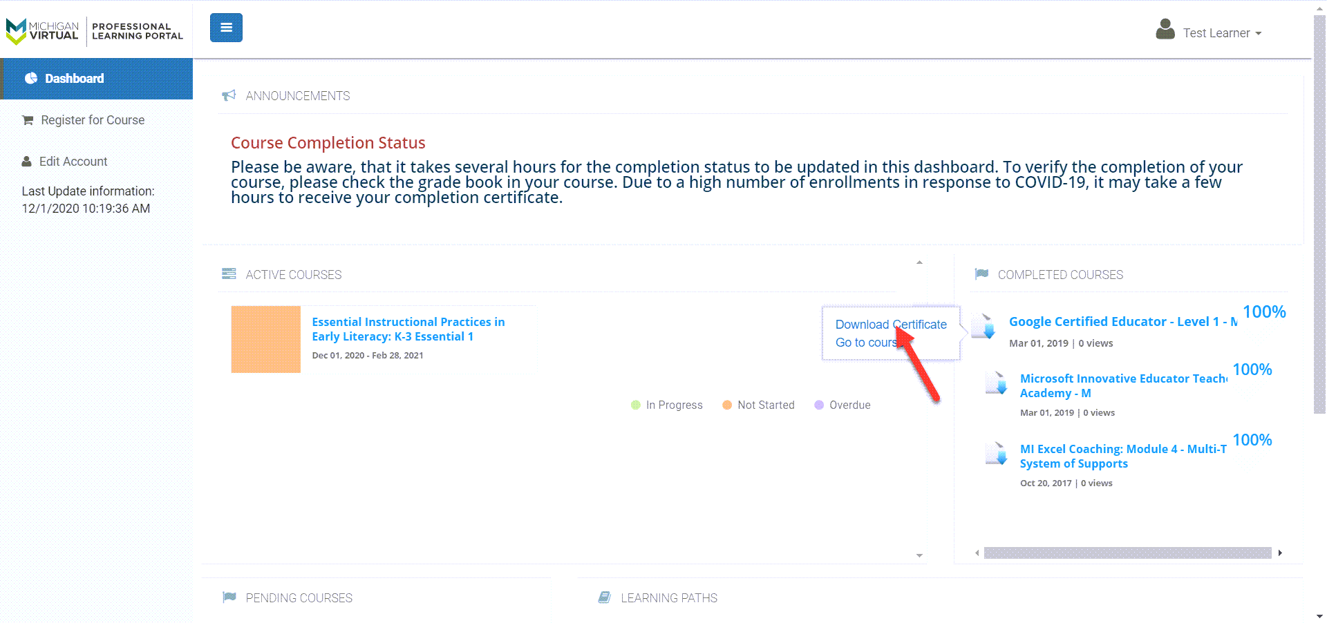 On the right side of the page the Completed Courses module is shown. With the first completed course selected, there is an option to download the certificate. An arrow points to that option.