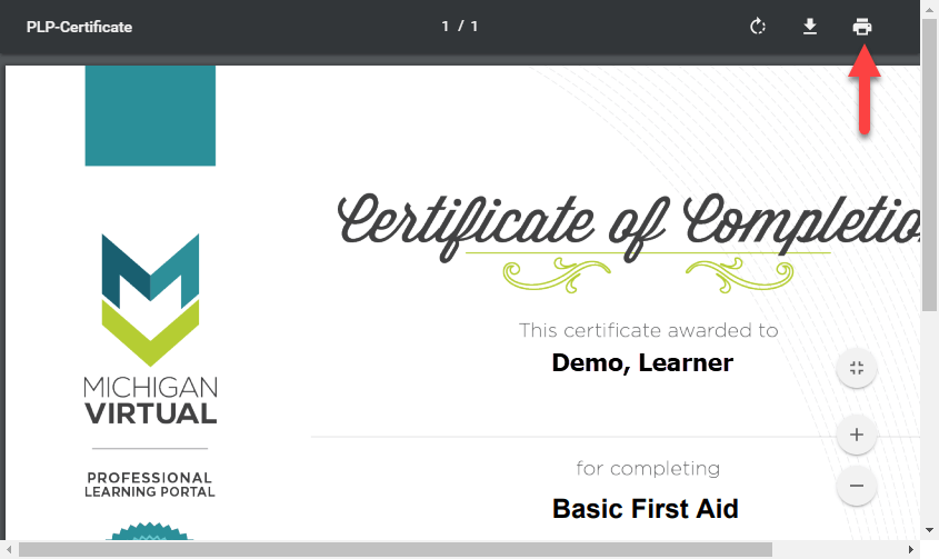 Screen capture of the certificate of completion within the browser.
