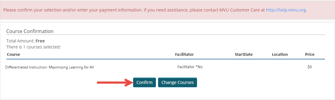 The course confirmation page shows the enrollment in the cart. An arrow points to the Confirm button to proceed to the next step.