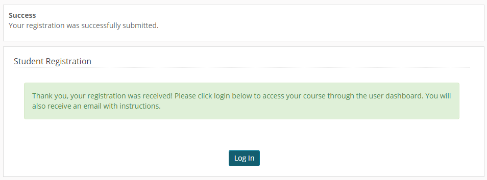 Screen capture of the successful course registration page showing the Log In button.