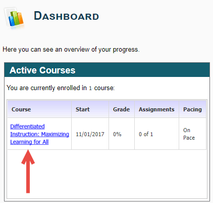 The Dashboard's Active Courses module shows an arrow pointing to the linked Differentiated Instruction: Maximizing Learning for All course. The Start date, current grade, assignments and pacing information also is displayed for this course.