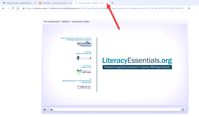 The Chrome browser is showing three tabs. The third tab is the Literacy Essentials webpage. An arrow points to the X within the tab for the purpose of showing how to close it.