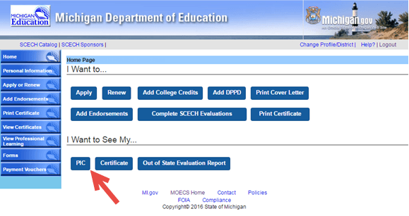 """Screen capture of the MOECS home page with an arrow pointing to the PIC button in the """"I want to see my"""" section."""