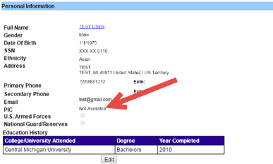 Screen capture of the MOECS Personal Information page with an arrow pointing to the PIC field.