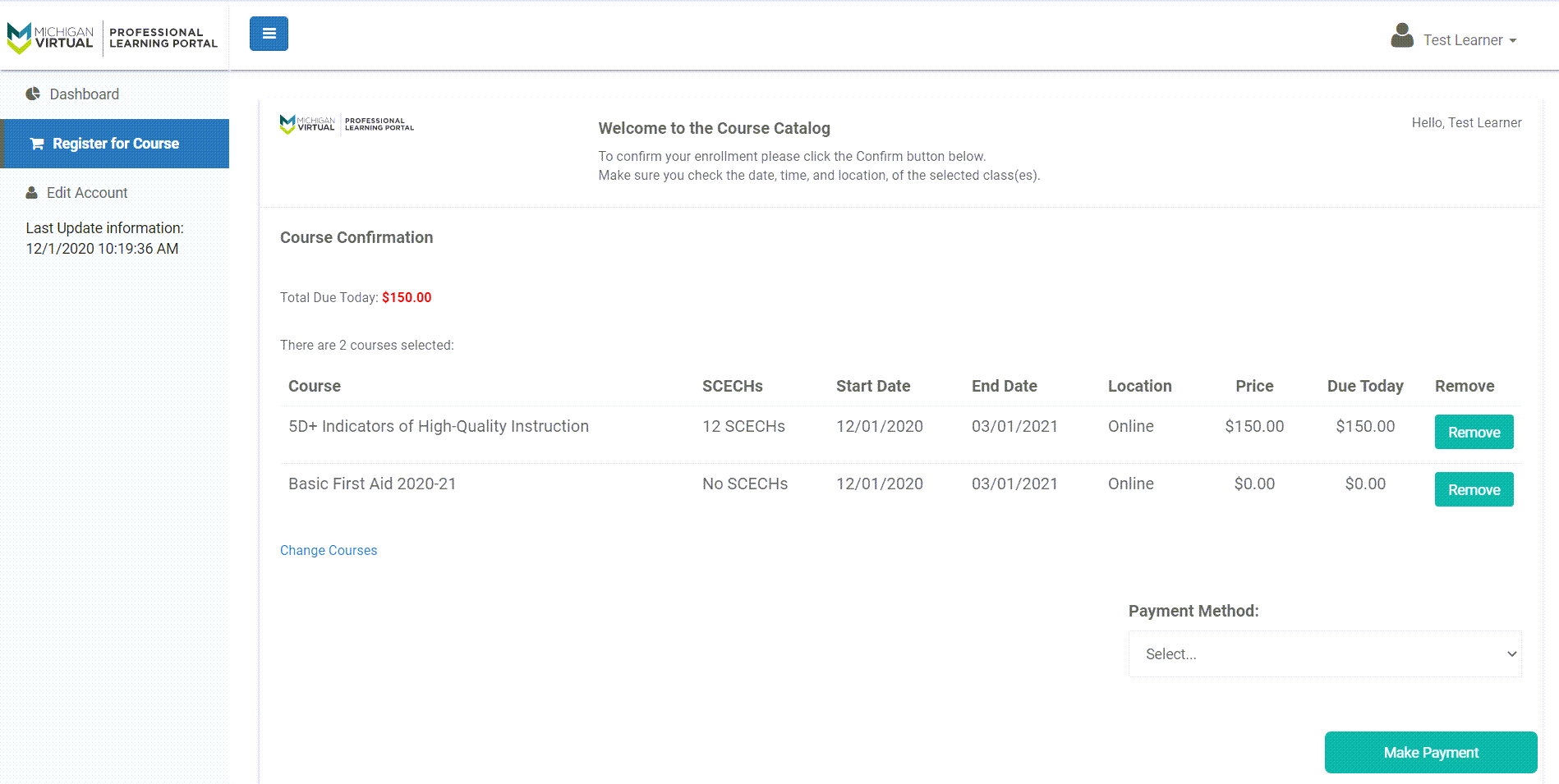 The payment confirmation page is shown with two courses selected, one free and the other for a cost. The Make Payment button is shown at the bottom of the page.