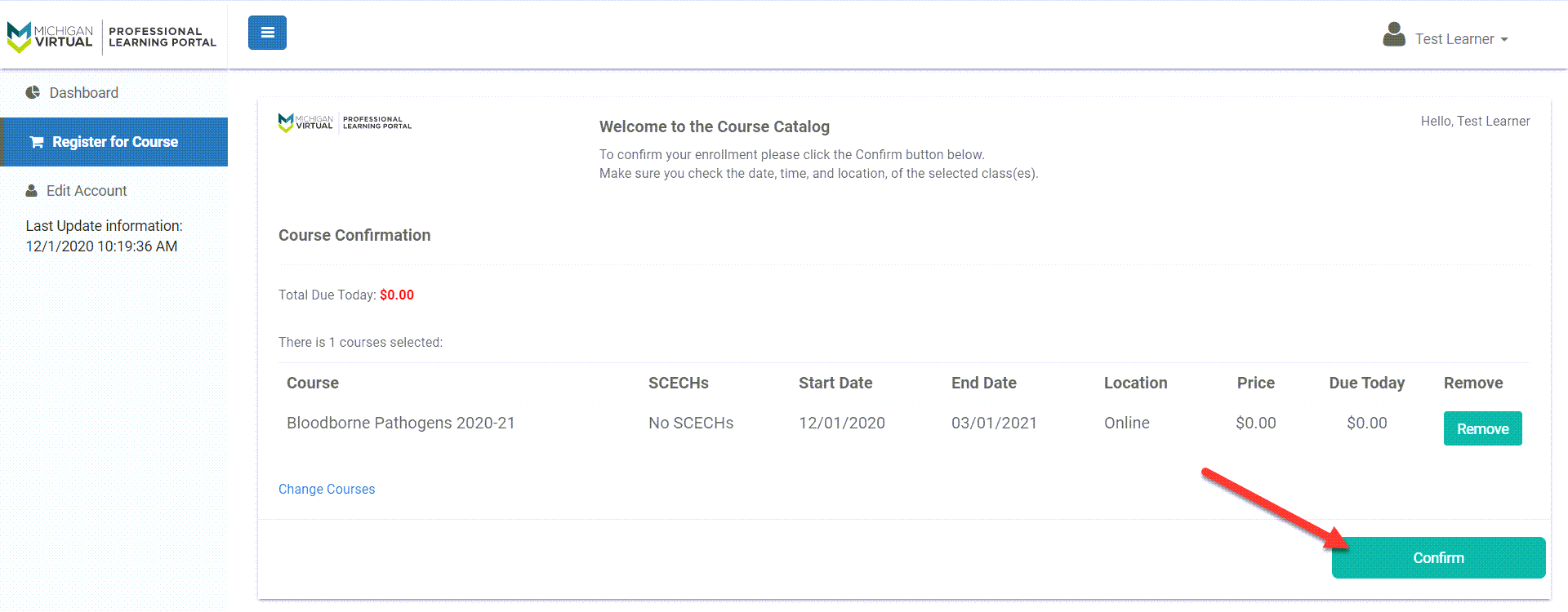 The confirmation page displays the course details and cost. An arrow points to the Confirm button.