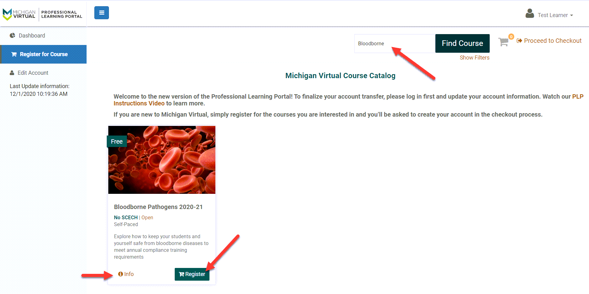 """The Register for Course page is shown with """"Bloodborne"""" typed in the search box. An arrow points to that, the info link in the course tile and to the Register button also within the course tile."""