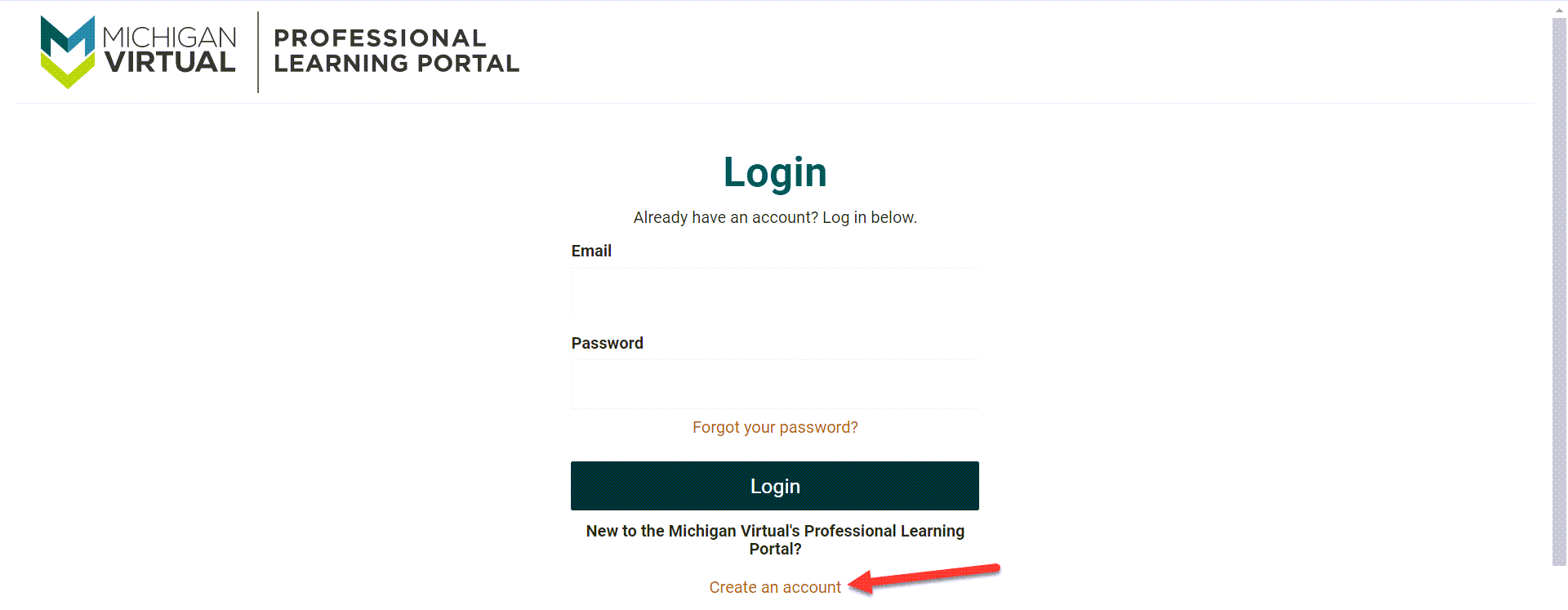 The login page appears prompting existing users to login. At the bottom of the page an arrow points to the Create An Account link for new users.