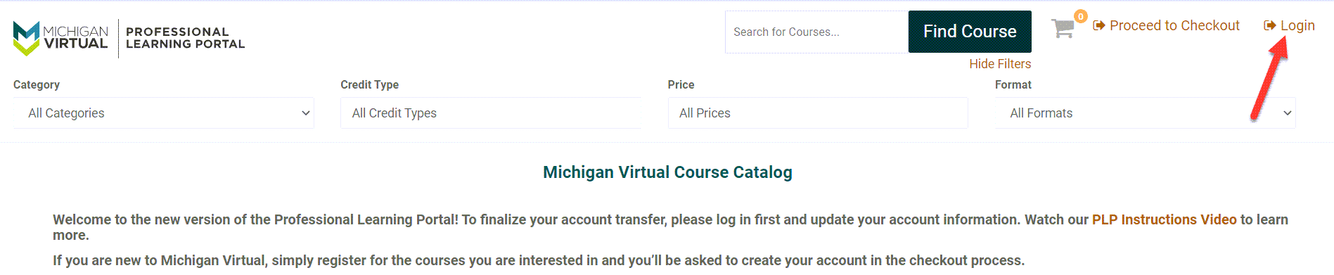 The professional learning portal is shown with an arrow pointing to the Login link on the upper right corner of the page.