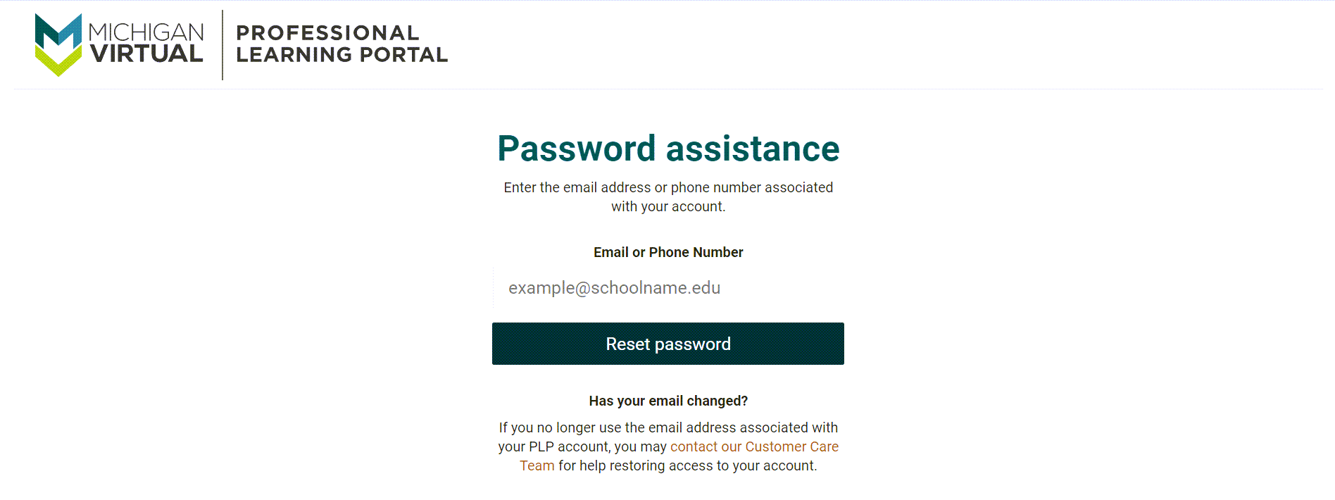 The password assistance page is displayed. The Email or phone number text box appears with the Reset Password button below.